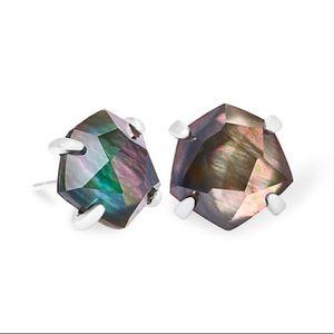 Kendra Scott Silver Ellms Earrings in Black MOP!!